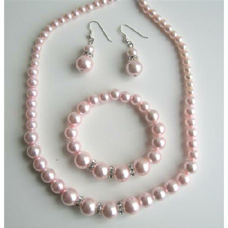 NS528  Pink Pearls Jewelry Pink Pearls Necklace Sterling Silver Earring w/ Stretchable Bracelet