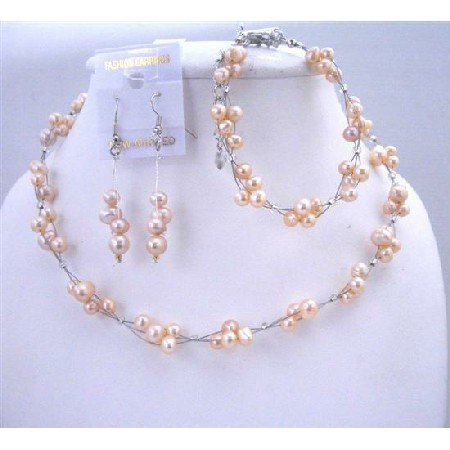 NS289  Wedding Bridal Bridemaids Jewelry Set Peach Freshwater Pearls Wire Necklace Sets w/ Bracelet