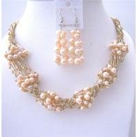NS557 Peach FresshWater Pearls Necklace Earrings Sets Multi Stranded Necklace w/ Glass Beads