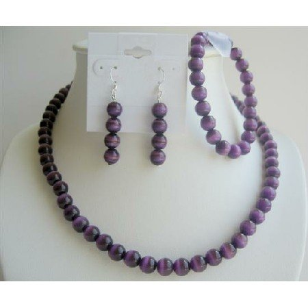 NS153  Purple Cat Eye Faceted Beads 8mm Necklace Earrings Stretchable Bracelet Jewelry Sets