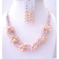 NS559  Pink FresshWater Pearls Jewelry Set w/ Glass Beads Multi Silver strands Necklace & Earrings