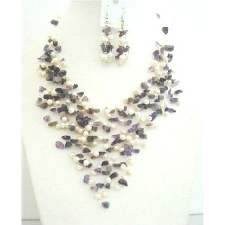 NS545  Amethyst Stone Nugget FresshWater Pearls Genuine Amethyst & Freshwater Pearls w/ Earrings