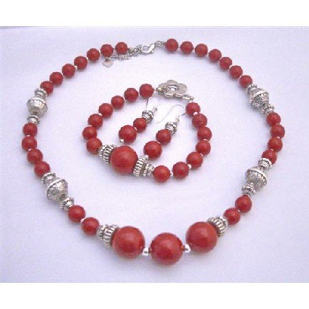 NS601 Bali Silver Coral Round Beads Necklace Earrings and Bracelet Coral Jewelry Set