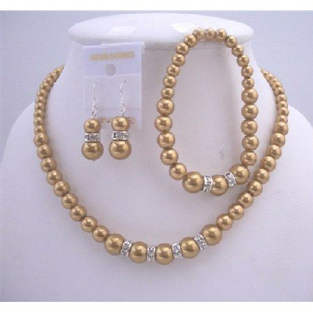 NS526 Bridal Bridemaides Golden Pearls Necklace Sterling Silver Earring w/ Stretchable Bracelet