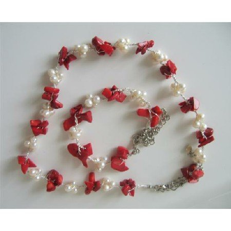 NS510  Genuine Coral Nugget Chip Beads Freshwater Pearls Necklace & Bracelet