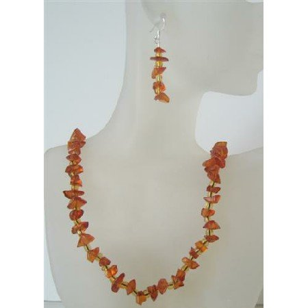 NS509  Handcrafted Amber Resin Nugget Stone Chip Necklace Sets NEW!!
