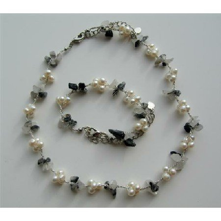 NS483  Freshwater Pearls And Onyx Nugget Chips Necklace & Bracelet