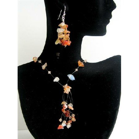 NS489  Carnelian Stone Chip & Colorado Crystals Necklace Set w/ Tassel Drop Silver Earrings