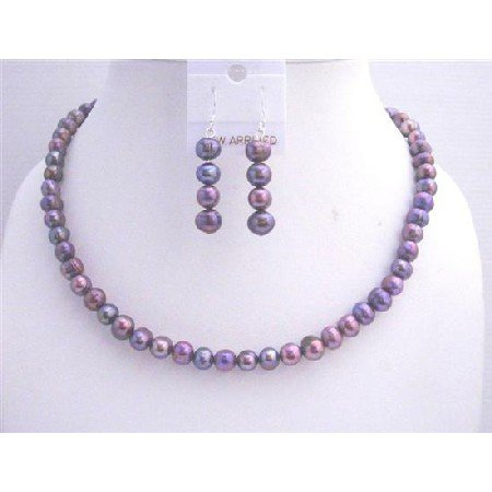 NS297  Freshwater Pearls Jewelry Set Metallic Purple Freshwater Pearls Necklace Set