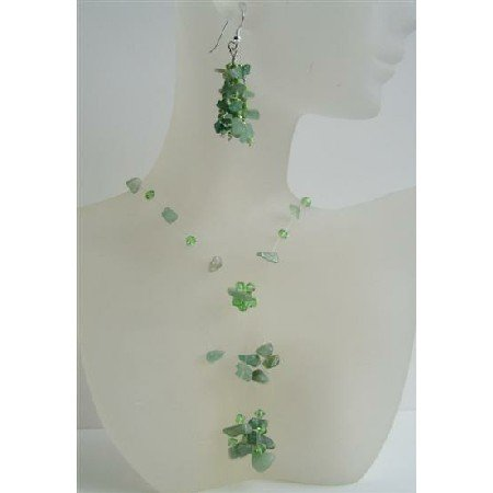 NS485  Jade Stone Chip & Erinite Crystals Necklace And Sterling Silver Earrings w/ Tassel