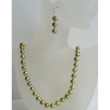 NS486  Handcrafted Custom Dyed Freshwater Pearls Jewelry Set