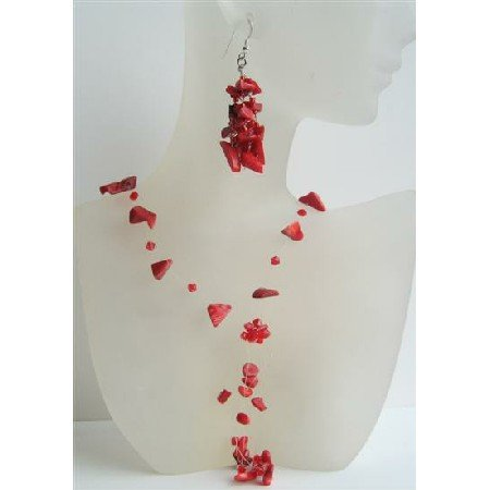 NS487  Coral Floating Necklace Set w/ Siam Red Crystals Tassel Drop Jewelry w/ Sterling Earrings