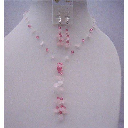 NS502  Pink Nugget Handcrafted Necklace Set And Sterling Silver Earrings w/ Tassel