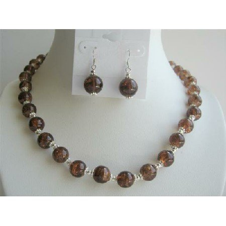 NS295  Fancy Brown Glass Beads w/ Silver Beads Spacer Necklace Set
