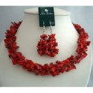NS349  Simulated Semi Precious Corals Nuggets Beads Trendy Funky Jewelry Necklace Set