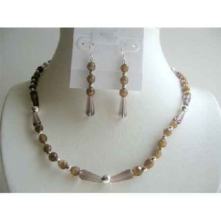 NS344  Smoky Quartz Teardrop Beads w/ Brown Cat Eye Beads Handcrafted Necklace Set