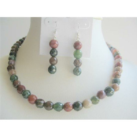 NS233  MultiColored Jade Glass Beads 9mm Necklace Sets w/ Sterling Silver Earrings