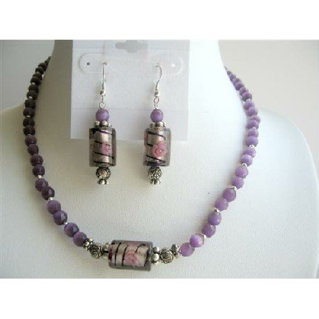 NS259  Venetian Glass Beads Handcrafted Jewelry Sets w/ Amethyst Cat Eyes Necklace Sets