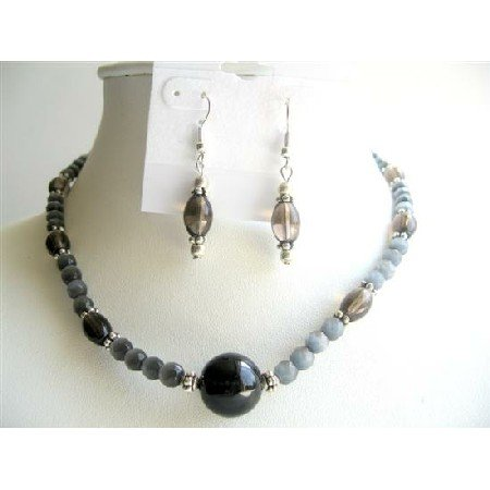 NS497  Handmade Black Cat Eye Beads w/ Smoky Quartz Barrel Beads Jewelry Sets