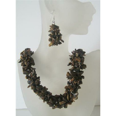 NS508  Tiger Eye Nugget Stone Chip Beads Handcrafte Necklace Sterling Silver Earrings