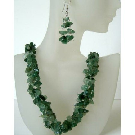 NS412  Genuine Sterling Silver Green Jade Stone Nugget Chip Handcrafted Necklace Sets