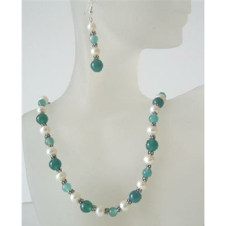 NS506  Jade Glass Bead Freshwater Pearls Handcrafted Necklace Set Bead Jewelry Set Earrings