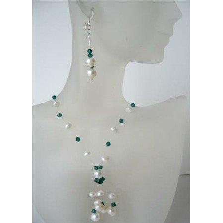 NS513  Potato Freshwater Pearls Swarovski Erinite Crystals Necklace Set w/ Tassel Jewelry Set