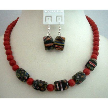 NS375  Custom Jewelry Coral 8mm Beads w/ Millefiori Murano Glass Bead