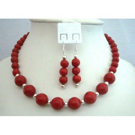 NS355  Handcrafted Coral Red Round Faceted Bead Custom Jewelry Necklace Set w/ Silver Spacing