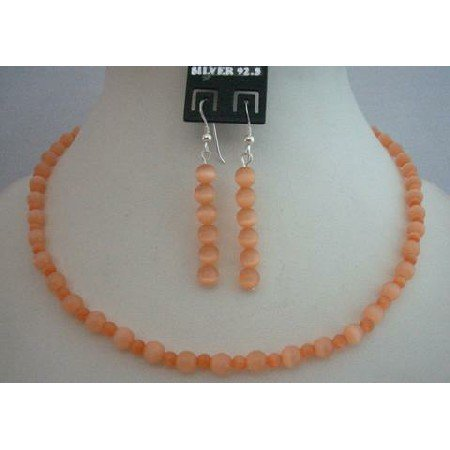 NS370  Sleek & Dainty Custom Jewelry Peach Cat Eye Sterling Silver Necklace Set