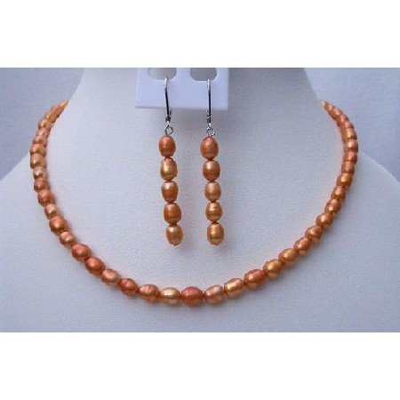 NS441  Rice Shaped Freshwater Pearls Metallic Orange Color Handmade Necklace & Fish Wire Earrings