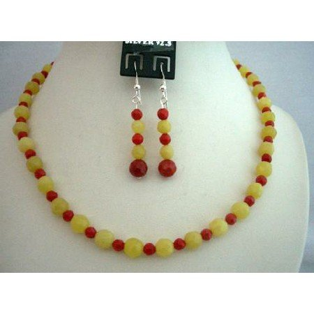 NS373 Apple Jade Faceted Beads w/ Coral Bead & Sterling Silver Earrings & Necklace