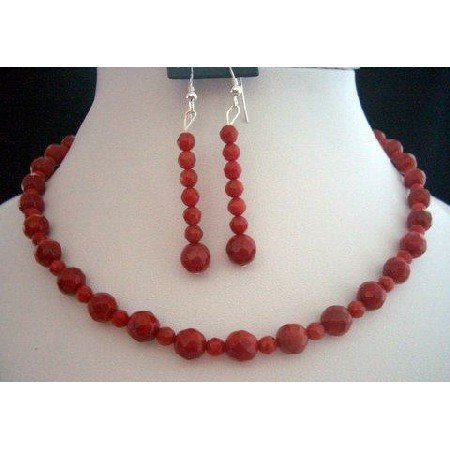 NS206  Handcrafted Faceted Red Coral Bead Necklace & Earrings Set