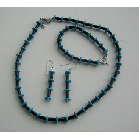 NS461  Necklace Onyx Tube And Turquoise Rings Jewelry Set Handcrafted Genuine Bead Jewelry Set
