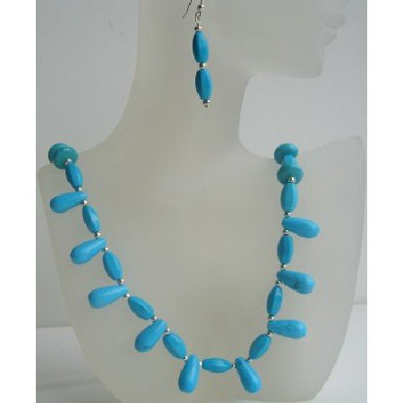 NS462  Turquoise Teardrop Barrel & Round Beads Necklace Set Handcrafted Cusotom Jewelry Set