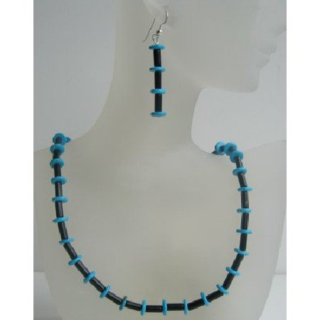 NS460  Onyx Tube And Turquoise Rings Necklace Set w/ Sterling Silver Earrings