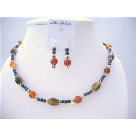 NS521 Tiger Eye Carnelian & Cultured Beads Necklace Set w/ Bali Silver Spacing Earrings