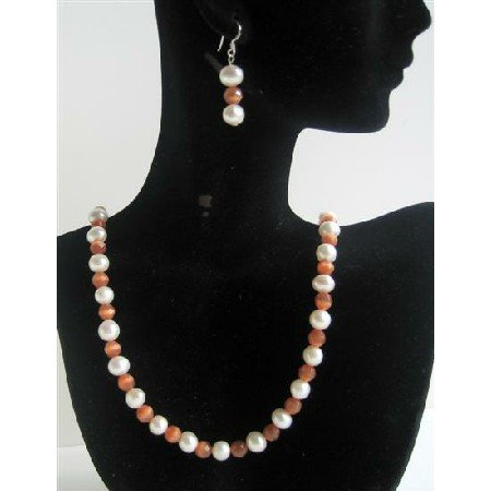 NS488 Freshwater Pearls Cat Eye Necklace Set Bead Jewelry Set w/ Sterling Silver Earrings