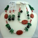 NS351Semi Precious Stone Beads w/ Pearls & Bali Silver Beautiful Necklace Earrings & BraceletSet