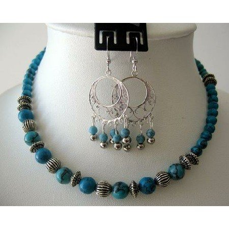 NS244  Handcrafted Necklace Set Turquoise Beads W/ Bali Silver & Sterling 92.5 Earrings