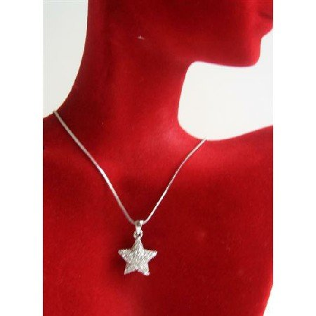N706  Bling Bling Cubic Zircon Star Pendant Necklace Fully Embedded w/ Cubiz Zirconia Necklace