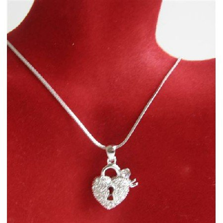 N710  Heart Shaped Lock w/ Key Pendant Is Sparkling Bling Fully Embedded CZ Necklace