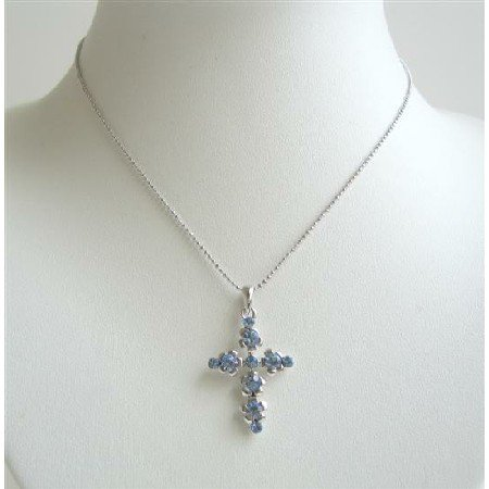 N714  Flashy Blue Cross Pendant Fully Embedded With BLue Cubic Zircon Striking Pendant Necklace