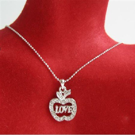 N708  Adams Eve Apple Love Jewelry Bling Apple w/ Love Word
