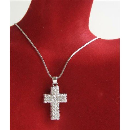 N715  Fully Embedded Cross Pendant With Cubic Zircon Very Elegant & Classy Pendant Necklace