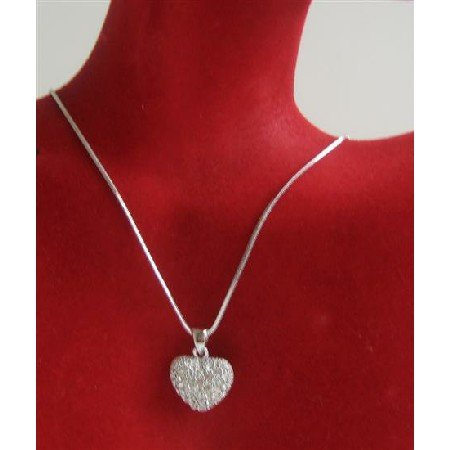 N709  Heart Pendant Necklace Sparkling Bling Heart Pendant Necklace