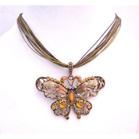 N458  Smoked Topaz Butterfly Pendant Copper Antique Butterfly Pendant Necklace