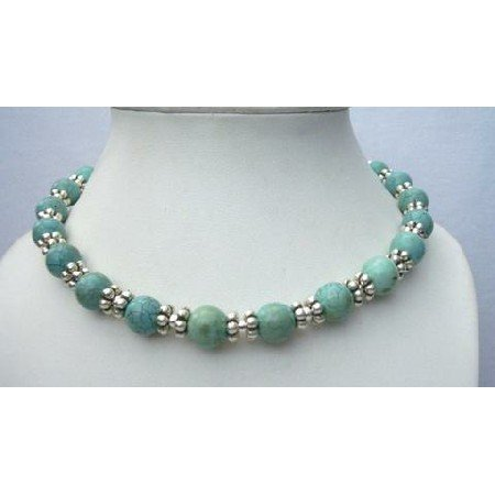 N396  Genuine 100% Nature 10mm Green Turquoise Necklace Round Beads w/ Bali Silver