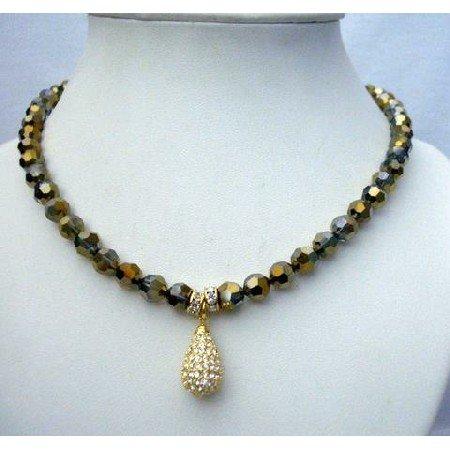 N398  8mm Cinnamon Crystals Necklace Genuine Swarovski Dorado Crystals Necklace