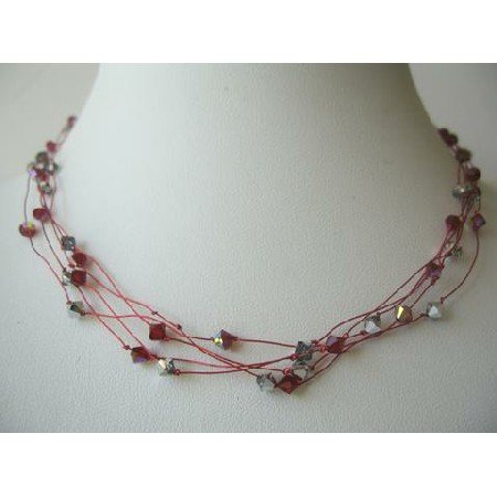 N346 Round Neck Necklace Synthetic Thread Nylon Multi Strands w/Siam Red Crystals